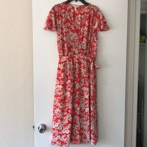 Rebecca Taylor Red floral wrap dress size 10